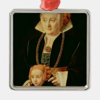 Portrait of a Woman with her Daughter Silver-Colored Square Decoration