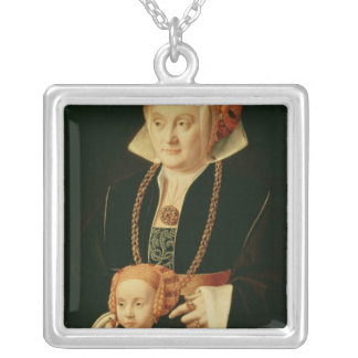Portrait of a Woman with her Daughter Silver Plated Necklace
