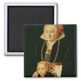 Portrait of a Woman with her Daughter Square Magnet