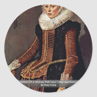 Portrait Of A Woman With Lace Collar And Bonnet Stickers