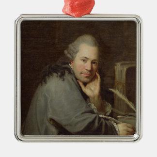 Portrait of a Writer, 1772 Silver-Colored Square Decoration