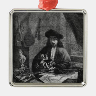 Portrait of a Young Artist, engraved by Silver-Colored Square Decoration