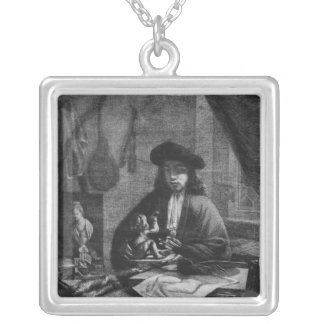 Portrait of a Young Artist, engraved by Silver Plated Necklace