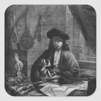 Portrait of a Young Artist, engraved by Square Sticker
