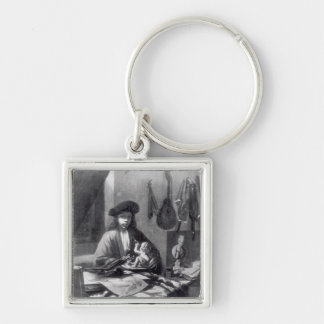 Portrait of a Young Artist Silver-Colored Square Key Ring