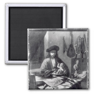 Portrait of a Young Artist Square Magnet