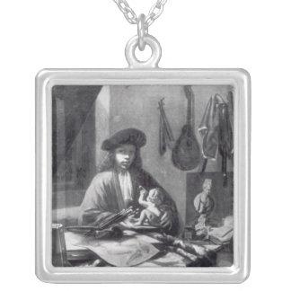 Portrait of a Young Artist Square Pendant Necklace