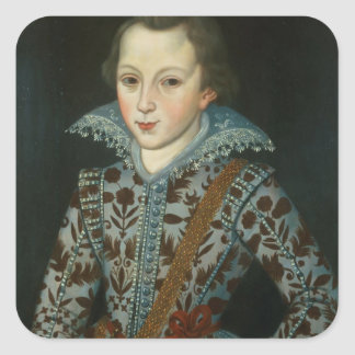 Portrait of a Young Boy, Aged Five Square Sticker