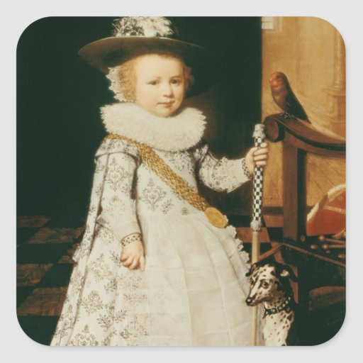 Portrait of a Young Boy Square Sticker