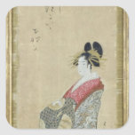 Portrait of a young courtesan square stickers