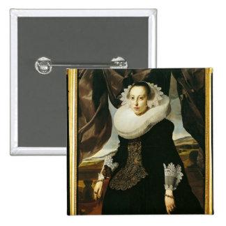 Portrait of a Young Dutch Woman 15 Cm Square Badge