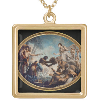 Portrait of a young Gentleman (oil on canvas) Square Pendant Necklace
