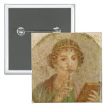 Portrait of a young girl 15 cm square badge