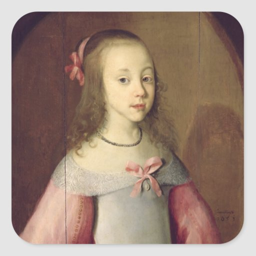 Portrait of a Young Girl, 1651 Square Stickers