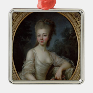 Portrait of a Young Girl, 1775 Silver-Colored Square Decoration