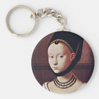 Portrait Of A Young Girl By Christus Petrus Keychains