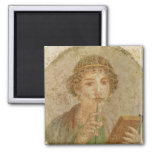 Portrait of a young girl square magnet