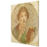 Portrait of a young girl stretched canvas print