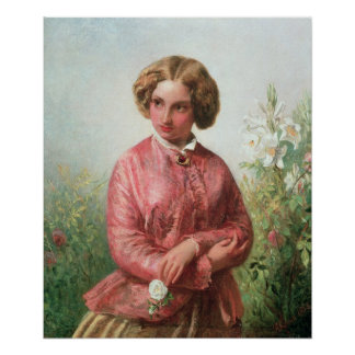 Portrait of a young girl with a rose poster