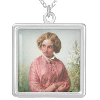 Portrait of a young girl with a rose silver plated necklace