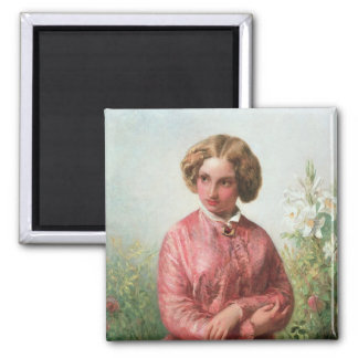 Portrait of a young girl with a rose square magnet