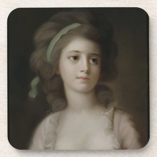 Portrait of a Young Lady (pastel on paper) Coasters