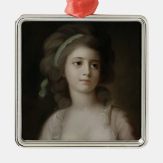 Portrait of a Young Lady (pastel on paper) Silver-Colored Square Decoration