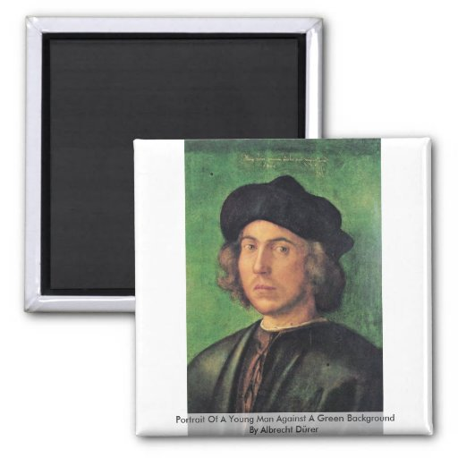 Portrait Of A Young Man Against A Green Background Magnets