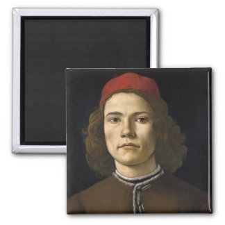 Portrait of a Young Man by Botticelli Magnet