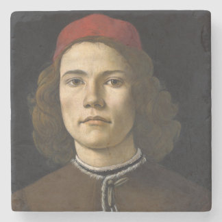 Portrait of a Young Man by Botticelli Stone Coaster