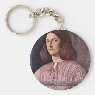Portrait Of A Young Man By Giorgione Basic Round Button Key Ring