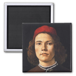 Portrait of a Young Man by Sandro Botticelli Square Magnet