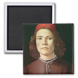 Portrait of a Young Man, c.1480-85 Square Magnet
