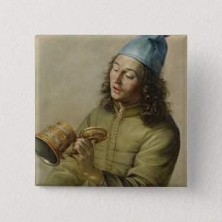 Portrait of a Young Man Holding a German Gilt Tank 15 Cm Square Badge