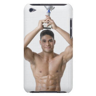 Portrait of a young man holding a trophy iPod touch case