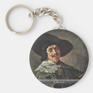 Portrait Of A Young Man In The Yellow-Gray Coat Basic Round Button Key Ring