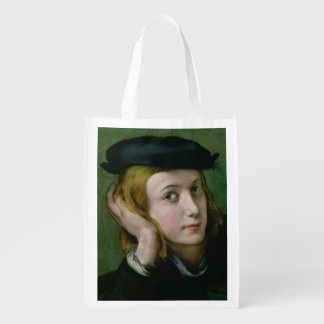 Portrait of a Young Man (oil on panel) Reusable Grocery Bag