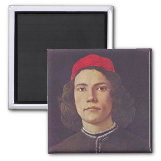 Portrait of a young man square magnet