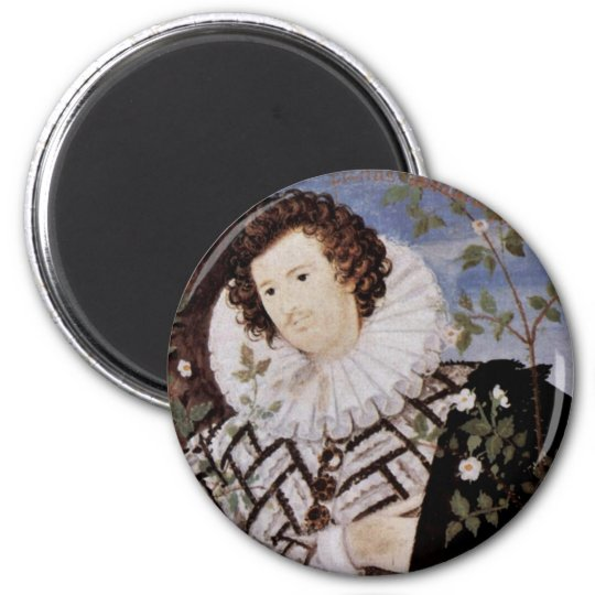 Portrait Of A Young Man Under Roses Oval Detail 6 Cm Round Magnet