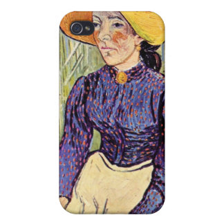 Portrait of a young peasant girl by van Gogh iPhone 4 Covers