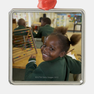 Portrait of a young schoolgirl smiling, KwaZulu Silver-Colored Square Decoration