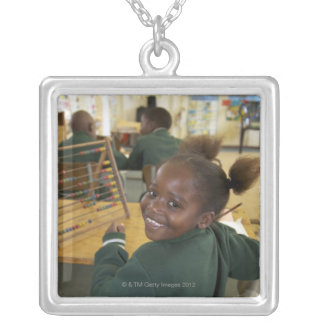 Portrait of a young schoolgirl smiling, KwaZulu Silver Plated Necklace