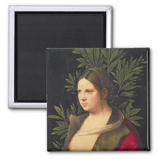 Portrait of a Young Woman , 1506 Square Magnet