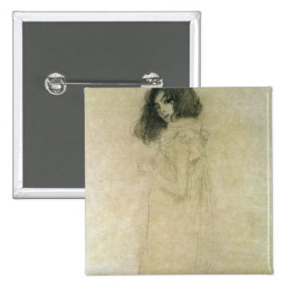 Portrait of a young woman, 1896-97 15 cm square badge