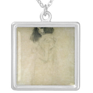 Portrait of a young woman, 1896-97 silver plated necklace