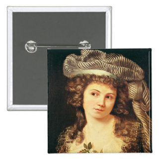 Portrait of a young woman 15 cm square badge