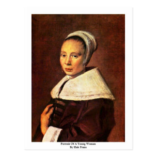 Portrait Of A Young Woman By Hals Frans Post Card