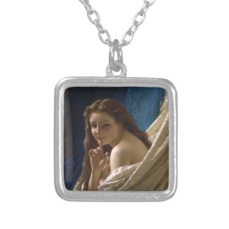Portrait of a Young Woman by Pierre Auguste Cot Silver Plated Necklace