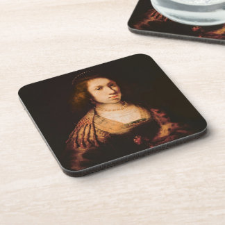 Portrait of a young woman coaster