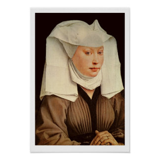 Portrait of a Young Woman in a Pinned Hat, c.1435 Poster